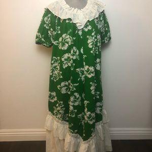 Vintage Green & White Ruffle Hawaiian Mumu Dress